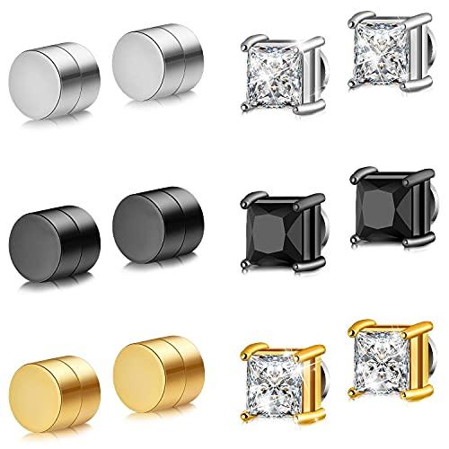 6 Pares de Aretes Magnéticos de Acero Inoxidable para Hombres Mujeres Pendientes de Imán CZ Pendientes de Clip No Perforantes Tapón de Circonita Cúbica de Diamante, Plata Negro Oro, 6-8 mm
