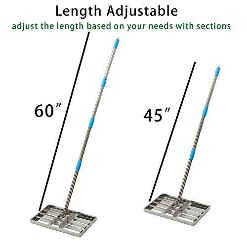 MIYA Level Lawn - 5FT Lawn Leveling Rake with Stainless Steel Pole - Heavy Duty Soil Lawn Leveler Tool for Yard Golf