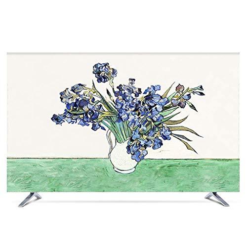 plhzh Televisión 28 Pulgadas TV TV Funda Colgada Vertical LCD TV Cubierta de Tela Decoración (Color: Iris Flower, Tamaño: 50 Pulgadas)