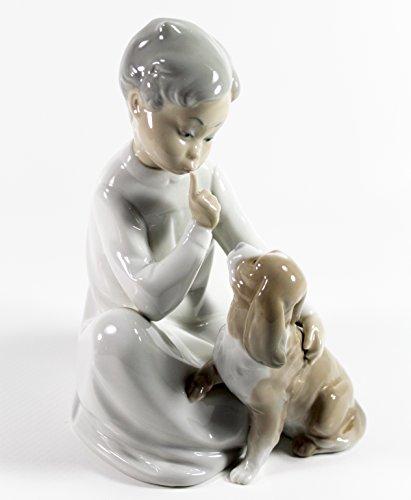 Lladro 'Boy with Dog Collectible Figurine #04522 Retired Glazed Finish