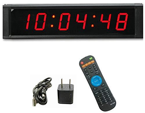 GAN XIN Reloj de pared LED multifuncional de 1 pulgada de alto 6 dígitos, con temporizador digital de cuenta regresiva/arriba, reloj de tiempo real de 12/24 horas, cronómetro por control remoto