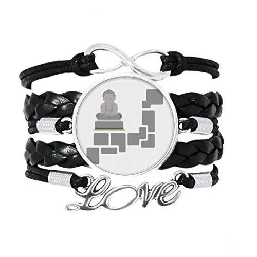 OFFbb-USA - Pulsera de meditación sentada postura escultura, accesorio de amor trenzado de cuero para tejer pulsera de regalo