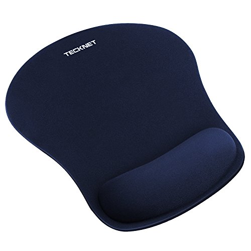 TECKNET Ergonomic Gaming Office Mouse Pad Mat Mousepad with Rest Wrist Support - Non-Slip Rubber Base - Special-Textured Surface (Blue)