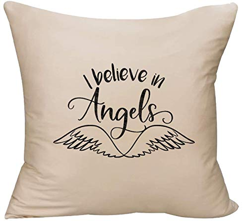 EVH I Believe in Angels Cursive angelwings Heaven Faith Guardian Decorative Throw Pillow Cover 18 x 18 Beige Funny Gift