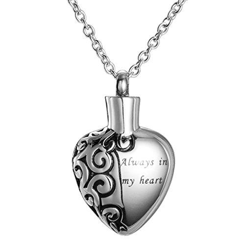 Collar de urna conmemorativa de recuerdo con urna de cremación Always in My Heart