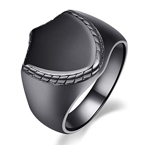 VAKKI Men's Black Stainless Steel Ring High Polished Shield Ring Band Size 7