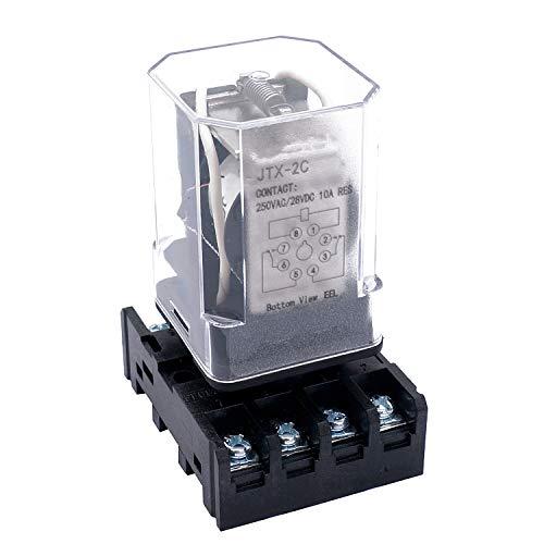 Taiss /JTX-2C, MK2P-I DPDT Relé de alimentación con base de enchufe de terminal enchufable, bobina de 24 V CC, 8 pines 2NO 2NC (garantía de calidad durante 1 año) 24 V CC