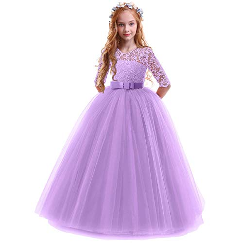 Spring Flower Girl Wedding Bridesmaid 3/4 Sleeves Kids Floral Lace Pageant Communion Princess Dress Prom Evening Dance Gown Purple 3-4 Years