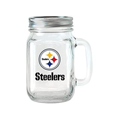 NFL Pittsburgh Steelers Glass Mason Jar with Lid, 16-ounce, 2-Pack