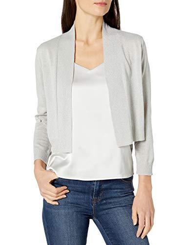Calvin Klein Women's Lurex ¾ Sleeve Knit Shrug, Silver, Medium