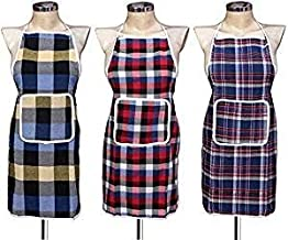 Kanushi Industries Waterproof Kitchen Apron with Front Pocket (Multicolor)- Set of 3