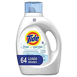 Tide Free and Gentle HE Laundry Detergent Liquid, 100 oz, 64 Loads, Unscented and Hypoallergenic for