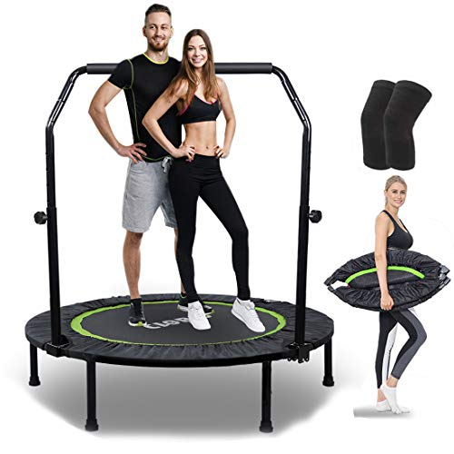 Foldable Portable Trampoline with Knee Pad Set, 40 inch Max Load 400 lbs Trampoline Mat Exercise Fitness Trampoline for Indoor/Garden/Workout with rope jumping (40'' with rope)