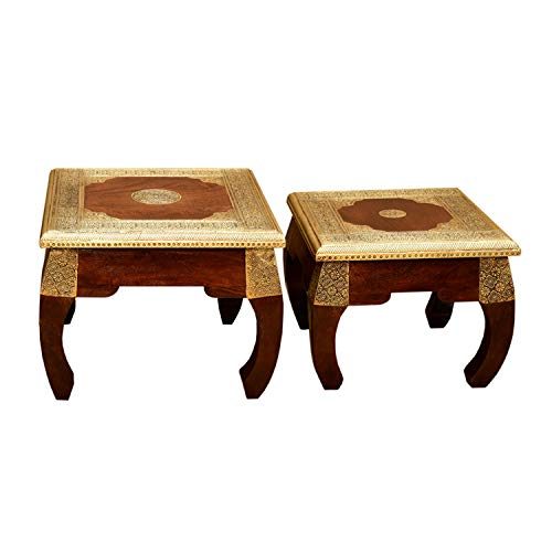 2 orientalische Opiumtische Messing in den Größen S & M als 2er Set aus Massivholz Sheesham | Vintage Beistelltische | Kunsthandwek | Couchtisch Sofatisch | MA5400
