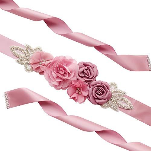 Afrsmw Cinturón de Mujer Cinturón Novia con La Flor Cristal Perla Cinturón de decoración fotografía cinturón para Novia Dama de Honor, Boda, Fiesta 270cm*4cm Rosa Oscuro