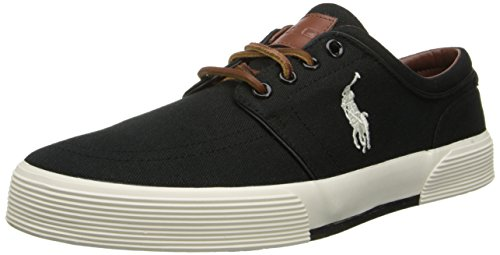 Polo Ralph Lauren Men's Faxon Low Sneaker,Polo Black/Cream,11.5 D US