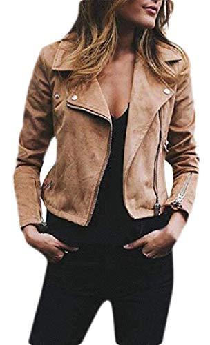 H&E Damen Motorradjacke mit Reißverschluss vorne, Velourslederimitat Gr. Medium, Khaki