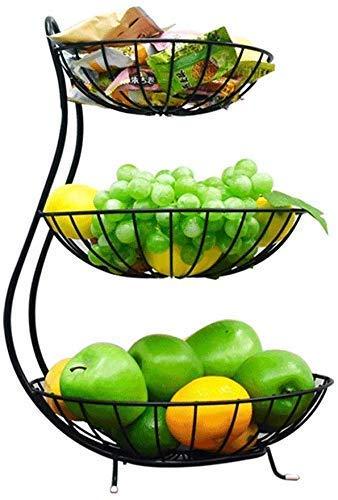 Basket Placa de fruta Europea Colorida Cesta de frutas Creativo Sala de estar de gran capacidad Almacenamiento de baloncesto para la fruta doméstica Minimal Multifuncional (Color: Negro) Bowl-default