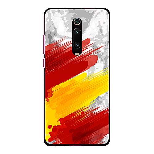 BJJ SHOP Funda Negra para [ Xiaomi Mi 9T / Redmi K20 / Redmi K20 Pro ], Carcasa de Silicona Flexible TPU, diseño: Bandera españa, Pintura de brocha sobre Fondo Abstracto