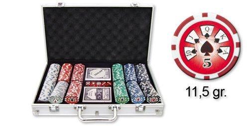 Dakota - Valigetta per Poker, con Dadi, 2 Deck di Carte e 300 gettoni (11,5 g) 28345DK