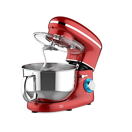 Heska -1500W Food Stand Mixer - 4-in-1 Beater/Whisk/Dough Hook/Flex Edge Beater - 5.5 Litre Mixing Bowl with Splash Guard (Red)