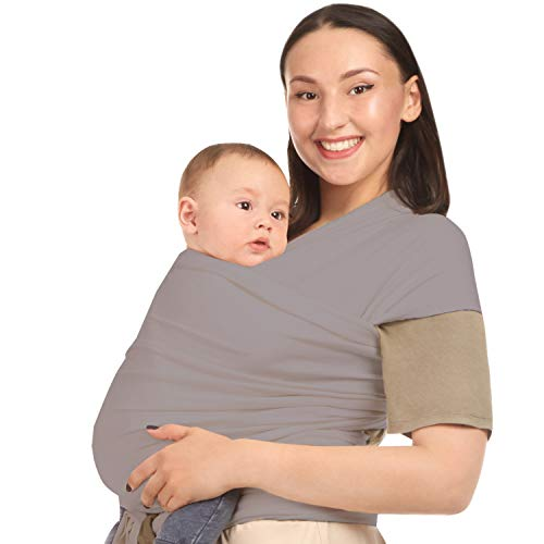 Baby Wrap Carrier Sling Holder - Grey - Toddler, Newborn, Infant, Child - Front, Hip and Kangaroo Holds - Ergonomic Baby Wearing for Men and Women - Organic Cotton