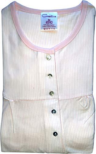 Unbekannt Damen Nachthemd mit Knopfleiste. Langarm, Streifen, Rose, 61643, Gr. L 44/46