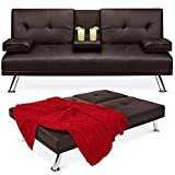 Best Choice Products Faux Leather Upholstered Modern Convertible Folding Futon Sofa Bed for Compact Living Space, Apartment, Dorm, Bonus Room w/Removable Armrests, Metal Legs, 2 Cupholders - Brown