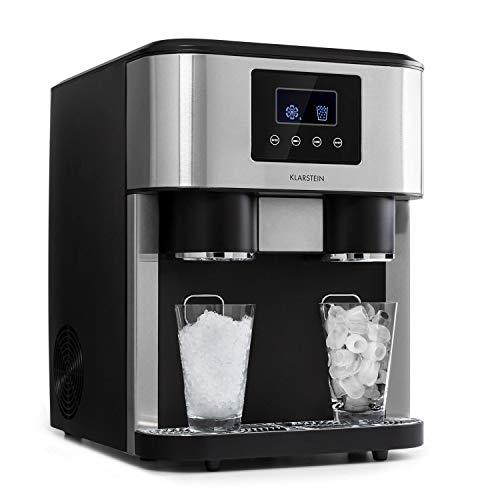 KLARSTEIN Eiszeit Crush - Machine à glaçons 3 en 1: glaçons, glace pilée, eau glacée, 2 tailles de glaçons, 15-18 kg / 24h, écran LCD, réservoir 1,8 l, capacité de glace: 600 g - Argent