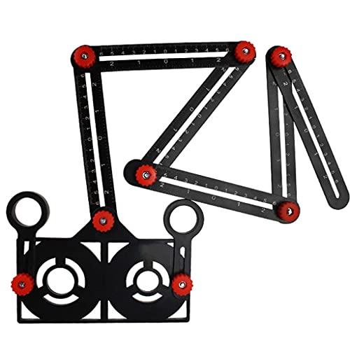 Aiglen Multi Angle Measuring Ruler 6-fold Ceramic Tile Hole Drill Guide Tool Universal Locator Angle Finder Measurement Tool