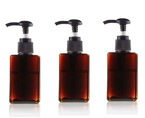 100ml bouteilles en plastique vides de pompe pots d'articles de toilette rechargeables récipients liquides accessoires de salle de bains (3pcs) (Brun)