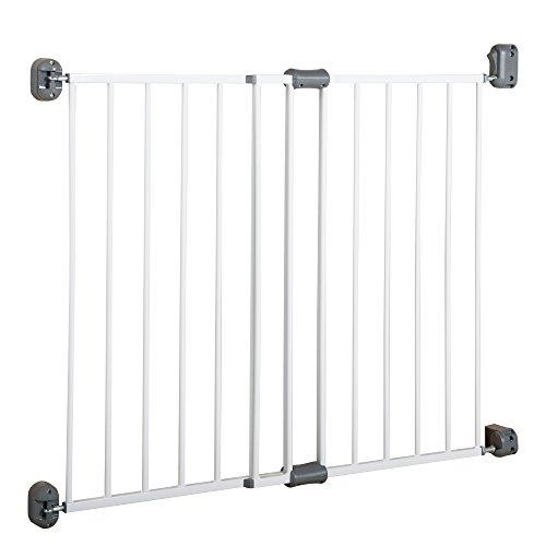 Roba deurbeschermingsrooster 'Easy Step', barrièrevrij metalen beschermingsrooster wit, doorgangbeveiliging extra hoog, variabele breedte 60-97cm, deur- en traprooster voor kinderen en huisdieren
