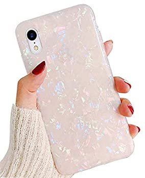 J.west iPhone XR Case,Cute iPhone XR Phone Cases for Girls Women Pretty Design Slim Opal Pearly-Lustre Glitter Shell Bumper Soft Silicone TPU Protective Cover for iPhone XR 6.1 inch 2018,Colorful