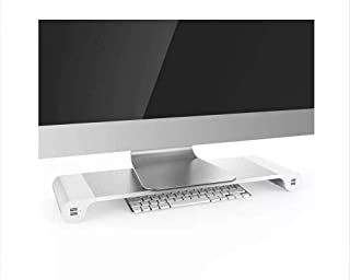 Aluminum Monitor Stand Space Bar With Keyboard Storage for Laptop iMac MacBook Air Pro Stand Holder Dock Desk 4 Port USB c...