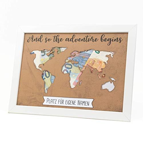Geldgeschenk Verpackung Hochzeit Geburtstag Reisen Urlaub Geschenk Weltkarte Vintage individuelles Geschenk Kraftpapier besonders verschenken