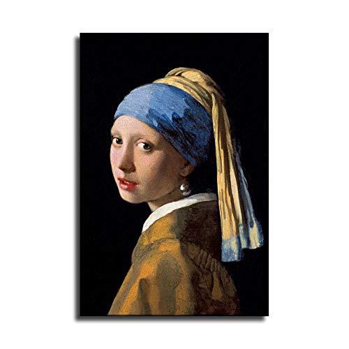 Weltberühmtes Mädchen mit einem Perlenohrring von Johannes Vermeer Poster auf Leinwand und Wandkunst, Bild, Druck, moderne Familie, Schlafzimmer, Dekoration, Poster