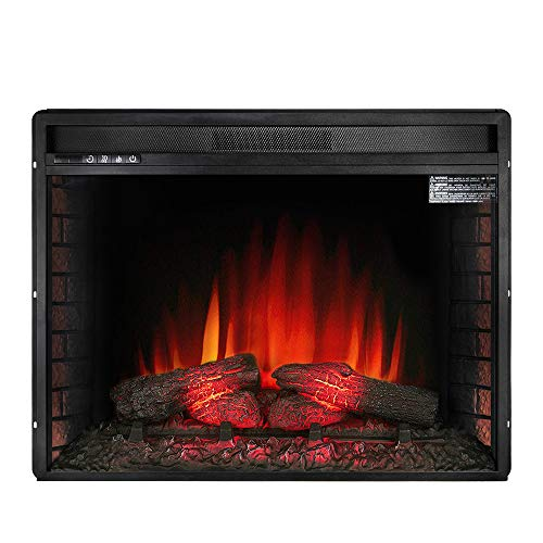 Allsees Electric Fireplace Insert Freestanding with Remote and Manual Control, Black (26')