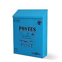 XAGB 防水ポスト箱の外の壁に取り付けられた鋼鉄メールボックス手紙、新聞のためのヴィンテージ鉄板のロックできる郵便箱 (Color : Blue)