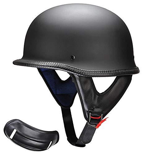 AHR Run-G Open Face DOT Motorcycle Half Helmet German Style Cruiser Chopper Biker Skull Cap Helmet Matte Black XL