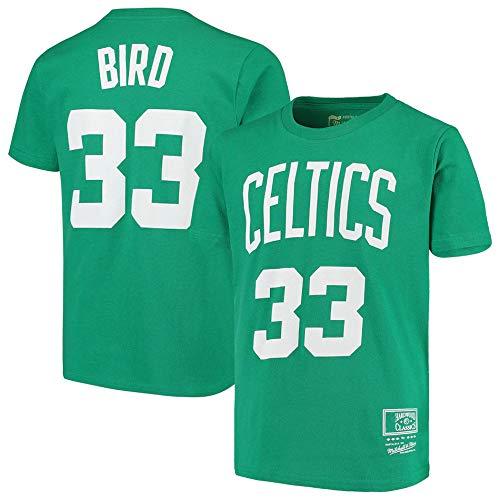 BMSD Camiseta Hombre NBA Celtics No. 33 Jersey Verano Verde Club de Manga Corta Unisex Casual Street Teenager Media Manga Tees Youth Sport, L