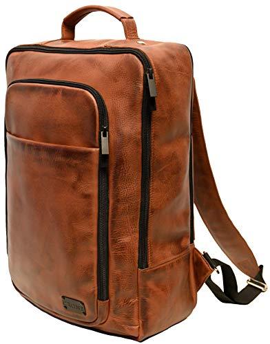 Crone Tokyo Echtleder Rucksack Vintage Unisex Leder Business Backpack (Dark Cognac...