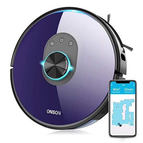 Robot Vacuum ONSON J30, 2700Pa Lidar Navigation Robotic Vacuum, No-Go Zones, Voice Control with Wi-Fi Real-Time Mapping, Selective Room Cleaning, Self-Charging Vacuum, Carpet Boost, 180 min Runtime