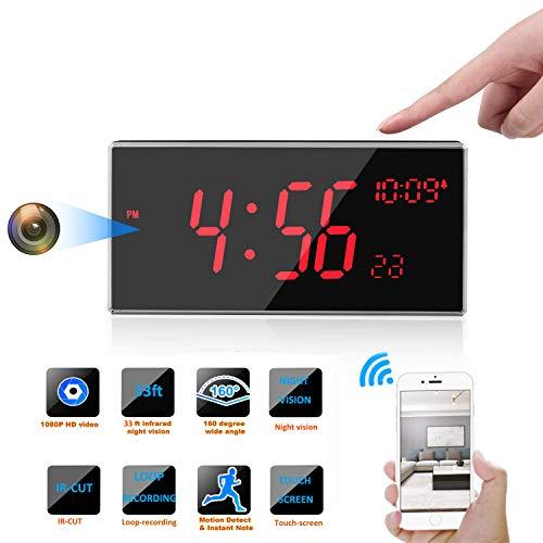 Cámara espía WiFi con IR-Cut, cámara de Reloj FHD 1080P con visión Nocturna de Ultra Larga Distancia de 33 pies - Cámaras Ocultas compatibles con detección de Movimiento