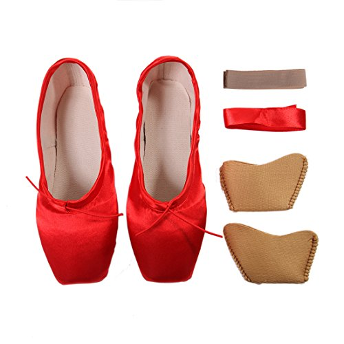 DoGeek Girls Pointe Shoes Ballet Dance Toe Shoes for Professional Ladies Satin Pointe Shoes with Ribbon(Choose one Size Larger) Red