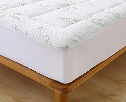 Elegant Comfort Premium Bamboo Mattress Pad-Overfilled Extra Plush Topper Hypoallergenic Breathable Cool Flow Technology, 16 Deep Pocket, King, Green