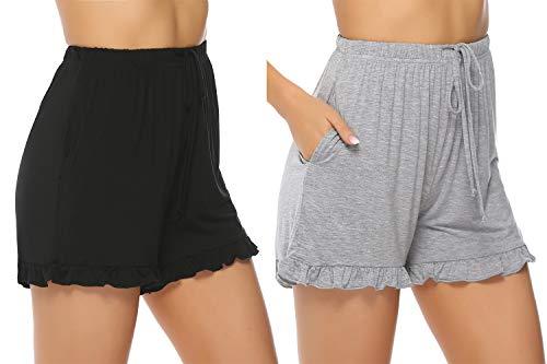 Hawiton Damen Schlafanzughose Pyjamahose Kurz Baumwolle Nachtwäsche, Uni-schwarz&grau, Gr.- M