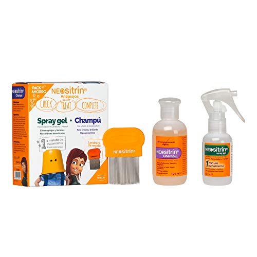 Neositrín - Pack Champú (100ml) + Spray Gel (60ml) + Lendrera para Eliminar Piojos y Liendres