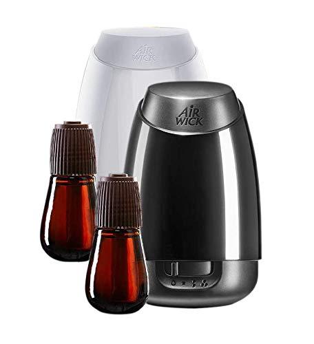 Air Wick Aroma-Öl Diffuser – Starter Set mit Diffuser und Duft-Flakon – Batteriebetrieben – Entspannender Lavendel + Sommervergnügen – 2 x 20 ml ätherisches Öl + je 1x Diffuser in weiß + schwarz