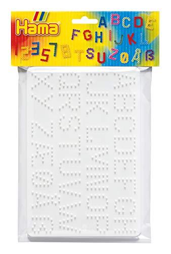 Hama Perlen 4455 Stiftplatten 2er Set für Midi Bügelperlen mit Durchmesser 5 mm, Buchstaben und Zahlen in weiß, kreativer Bastelspaß für Groß und Klein