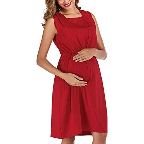 TWW Vestido Sin Mangas con Cuello Redondo Moda Lactancia Materna Vestido De Maternidad Vestido De Maternidad Slim Fit Hermoso Y Cómodo Vestido De Punto De Longitud Media,Red S